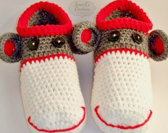 Mens Adult Sock Monkey Slippers
