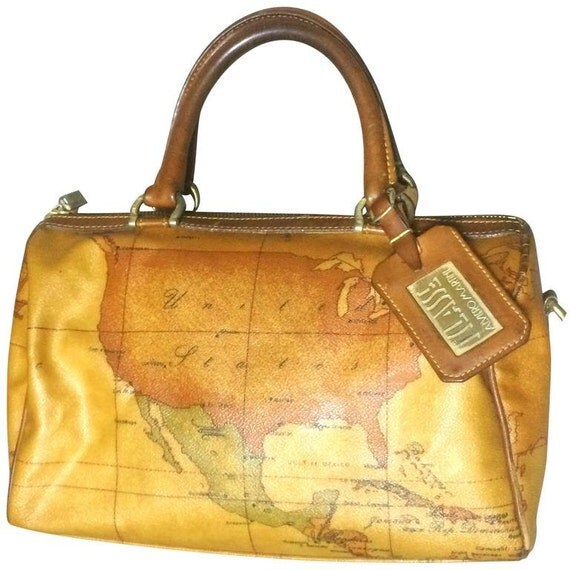 Vintage Alviero Martini  Prima Classe speedy type duffle bag, USA, Mexico, Caribbean and Africa map focused.