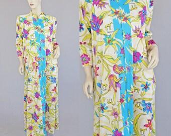 Vintage 70s Caftan Dress Psychedelic Loungewear M