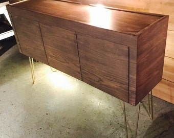 mid century modern media center with gold hairpin legs tv stand storage