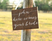 Here Comes Your Bride Sign, Ring Bearer Sign, Flower Girl Sign, Wooden Wedding Signs Here Comes the Bride Sign, Here comes your girl