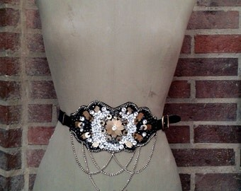 Bejeweled waist belt - black, silver and gold - leather straps with adjustable buckle and back elastic