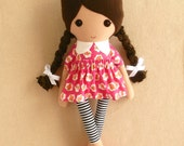 Fabric Doll Rag Doll Brown Haired Girl in Old Fashioned Pink Floral Dress