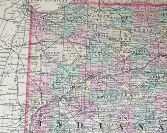 1887 Indiana Map, in Fantastic Condition, with Tremendous Detail, Historic Antique Wm Bradley Map, Perfect to Frame