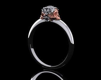Diamond Skull with Flowers Engagement Ring