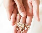 Flower Bridal Hair Pins, Wedding Hair Pins, Enamel Flowers, Bridal Hair Accessories, Gold Wedding Hair Pins, Flowers and Crystals  #113HC