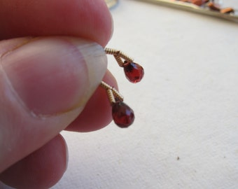 6x4mm, Natural Garnet Briolettes - Sold in Matching Pairs or, choose a Larger Pkg from the 'Select an Option' menu - Flat Rate Shipping