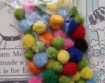 50 pcs Small Vintage Pom Poms | Rainbow Assortment | Kitsch | Pom Pom Ball Lot