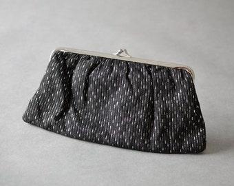 Vintage silver party wedding clutch bag hand bag purse black