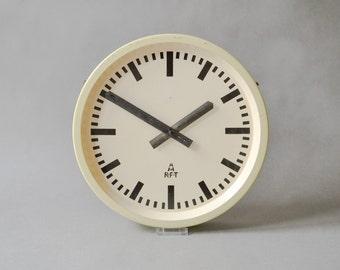 Vintage industrial wall clock, RFT slave clock, East German clock, GDR wall clock, Mid-Century Modern, 60s Ref: 107