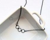 Gunmetal Hoop Dainty Minimalist Single Strand Layering Necklace