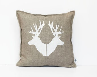 Deer print pillow cover hand painted on natural linen - decorative pillow - cushion case with deer heads  0362