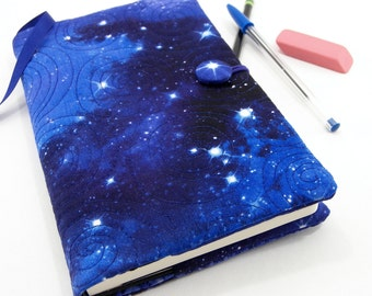 Galaxy Journal Cover, Moleskine Cover, Refillable Journal Slipcover Fabric Diary - Star Journal in Blue, Cosmos 5 x 8 Journal Cover