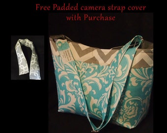 DSLR Camera Bag & Camera Strap Cover  \ Quick release buckle \ Laptop slot \ Canon Nikon \ Camera Case \ SLR Camera bag \ 14x6x12 Camera Bag