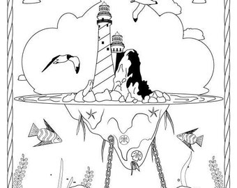 Thomas Point Lighthouse Stress Relief Coloring Page for