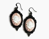 Cameo earrings Victorian mourning Rose gothic black earring Romantic dress accessory Gift mother woman Steampunk punk jewellery Gift for Her