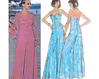 "1976 Halter Neckline Jumpsuit, Wide Leg Palazzo Pants, Bell Sleeve Tie-Front Cropped Cover-up McCall's 5093, Pick Bust 34"" or Uncut Bust 36"""