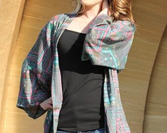 Soft Olive and Pink Kimono, Free Size Kimono, Boho Kimono, Rayon Challis Kimono