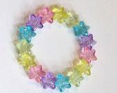 Magical Rainbow - Pastel Glitter Star Stretch Bracelet