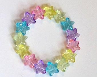 Magical Rainbow - Pastel Glitter Star Stretch Bracel
