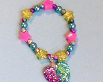 Aurora Magic - Sparkle Heart Stretch Bracelet with Pearls, Glitter Beads and Stars