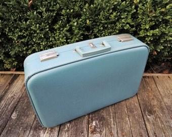 Vintage Blue Suitcase -- Retro Hard Shell Luggage, Blue Satin Fabric Interior Liner, Overnight Bag, Wedding Card Holder, 21 x 14 x 5