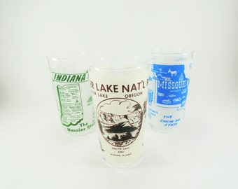 Souvenir Travel Glasses, Set of 3, Crater Lake National Park, Missouri, Indiana, Frosted Beverage Glass, 1950s Souvenir Glass, Memorabilia