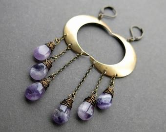 Crescent Moon Earrings - Long Amethyst Earrings - Amethyst Dangle Earrings - Purple Amethyst Jewelry - Bohemian Amethyst Crystal Earrings