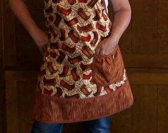 Cowboy Boots and Spurs Western Apron - Brown Boot New Retro Apron Size Large