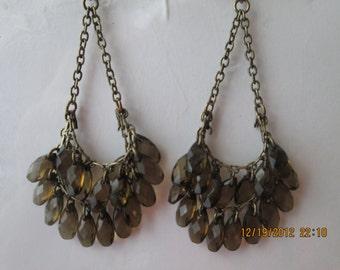 2 Row Bronze Tone Chain Dangle Earrings with Amber/Brown Teardrop Beads Dangles
