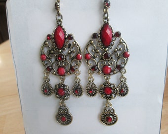 Gold Tone Chandelier Earrings with Red Rhinestones and Beads and Red Teardrop Crystal Dangles