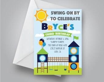 Playground Birthday Invitation   Park Birthday Invitation   Slide Birthday Party   Swing Set Birthday   Twin Boy Birthday Invite