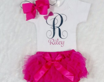 Personalized Newborn Clothing, Customized Baby Items, Baby Bloomers Outfit, Monogram Initial Baby Clothing, Newborn Girl Outfit, Custom Baby