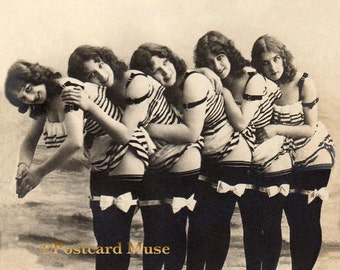 Edwardian Bathing Beauties - New 4x6 Photo Print From A Vintage Postcard BB009