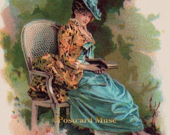 Victorian Lady With A Book - New 4x6 Photo Print - TC021