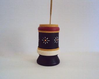 Handpainted Incense Holder - Wood Incense Burner - Black, Gold, Red Incense Stick Holder - Little Wooden Toothpick Holder - Folk Art Decor
