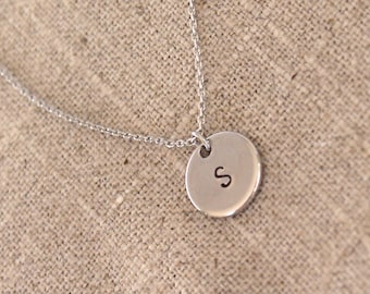 SALE Silver Initial Disc Necklace - Monogram Necklace - Personalized Gold or Silver Initial Circle Necklace - Bridesmaid Gifts Sets