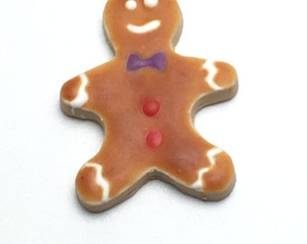 Gingerbread Man Dollhouse Cookie, 22mm Christmas Sweets, 1:8 Scale Dollhouse