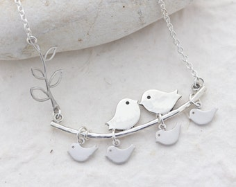 Love Birds Necklace, Birds necklace, 925 Sterling silver lovebirds, family up to 4 kids, Mother day gift, Birds Jewelry