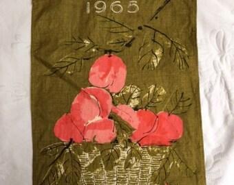 Vintage Vera Linen Calendar, 1965, Beautiful