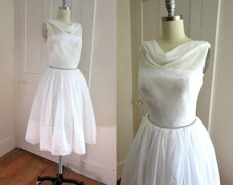 50s Chiffon Dress - Wedding  - Knee Length - Rhinestone Waist - Cocktail - Black Tie - Prom - Drape Neck - V Back - Cinched Waist - Scarf
