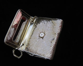 Whiting and Davis Purse Vintage Gold Mesh Pocket Book Clutch Accessory Rectangle Square Magnetic Clasp Bag Chain