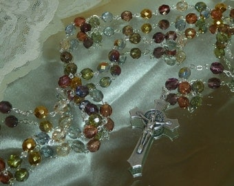Autumn's Glory, Crystal Rosary~FREE U.S. Shipping