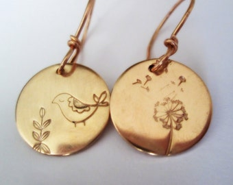 Hand Stamped Earrings Bronze Mismatched Partridge Bird Leaves Dandelion Rose gold Dangles Metalsmith Jewelry Petite Minimalistic Metalwork
