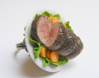 Food Jewelry, Roast Beef Ring, Beef Jewelry, Miniature Food Jewellery, Roast Beef Charm, Dolls House Food, Mini Food Ring, Meat Lover Ring