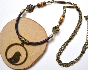 Necklace - Bird, Leather & Mixed Beads - Unique - Handmade
