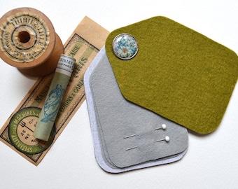 Sewing Needle Case - Needle Holder - Felt - Green - Handmade