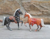 Vintage Lead Horse Miniature Figurine Toy: Your Choice of Black Horse, Brown Horse, or Small Horse and Rider Soldier Made in Japan