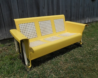 Metal Porch Glider Lawn Furniture Yellow and White Original Finish <Local Pick Up Only> Retro Porch Patio Outdoor Seating Deck Basketweave