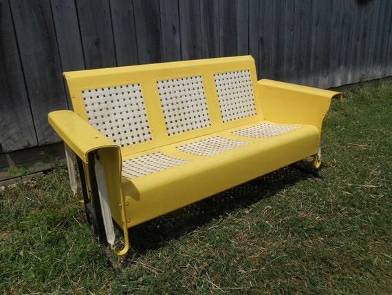Metal Porch Glider Lawn Furniture Yellow And White Original